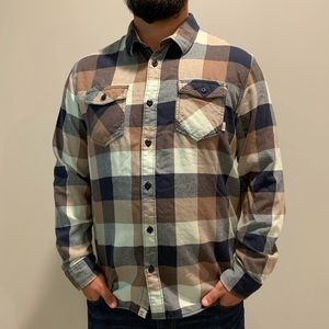 Vans Men's Plaid Flannel Blue Shirt Extra Large